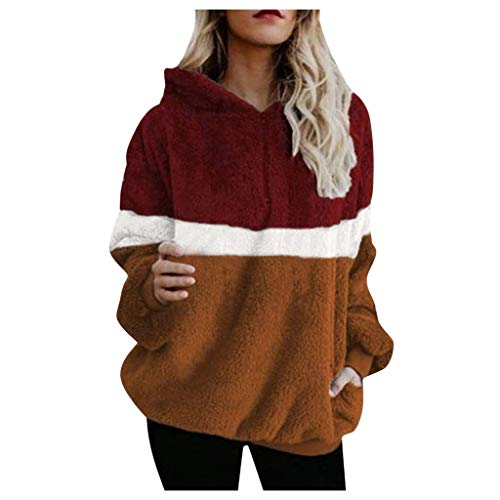Best Review Of HNTDG Women Winter Warm Splice Hooded Long SleeceCollar Plush Sweatshirt with Pocket ...