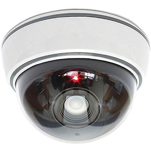 Dummy Kamera Attrappe mit Objektiv Videoüberwachung Warensicherung Überwachungskamera Fake Camera mit rotem LED Licht täuschend echt für Wand Decke weiß