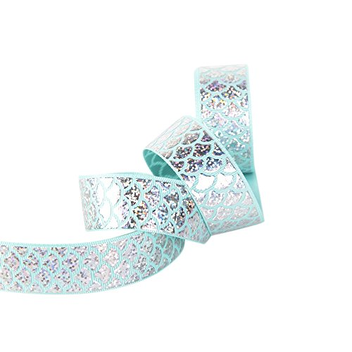 "Mermaid Ribbon Laser Sequins Fish Scales Grosgrain Ribbon 1"" Wide for Decoration and DIY Handmade Accessories (5 Yards, Blue)"