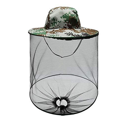 𝗠𝗼𝘀𝗾𝘂𝗶𝘁𝗼 Head Net Hat, Sun Hat Bucket Hat with Hidden Net Mesh for Outdoor Lover Fishing Hiking Gardening 𝗕𝗲𝗲𝗸𝗲𝗲𝗽𝗶𝗻𝗴 Men or Women(Army Green)