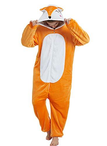 Amenxi Tier Onesie Pyjama Cosplay Kostüme Schlafanzug Erwachsene Unisex Animal Tieroutfit tierkostüme Jumpsuit Nachtwäsche (Fox, Körpergröße 145-155cm (S))