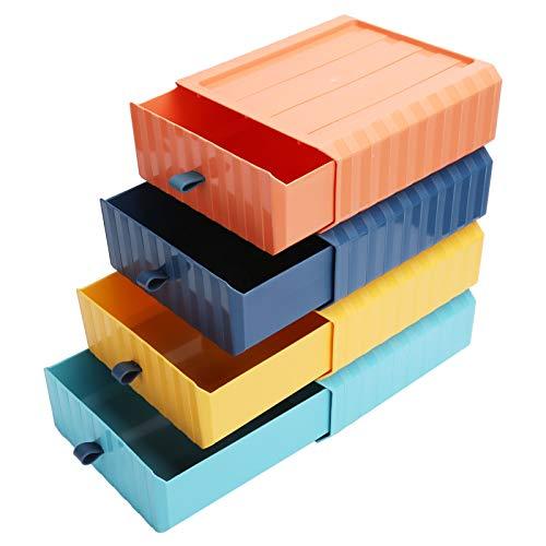 Juego de 4 cajones de almacenamiento apilables, cajón de almacenamiento organizador de escritorio multifuncional PP, caja de almacenamiento de plástico, suministros de organización para el hogar y la