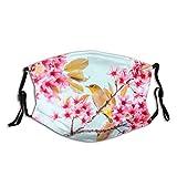 Mascarilla japonesa de flores de cerezo, pasamontañas lavable con 2 filtros, Flores de cerezo y pájaros, Talla única