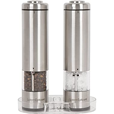 Latent Epicure Battery Operated Salt and Pepper Grinder Set (Pack of 2 Mills) - Complimentary Mill Rest | LED Light | Adjustable Coarseness |