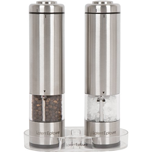 Latent Epicure Battery Operated Salt and Pepper Grinder Set (Pack of 2 Mills) - Complimentary Mill Rest | Bright Light | Adjustable Coarseness |