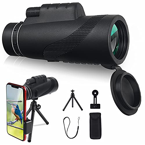 Monocular Telescope, 12x50 Monocular Telescope HD High Power Waterproof Bak4 Prism Wide Angled Monoculars Scope with Phone Holder Mount and Tripod for Adults Bird Watching Camping Hunting, Black