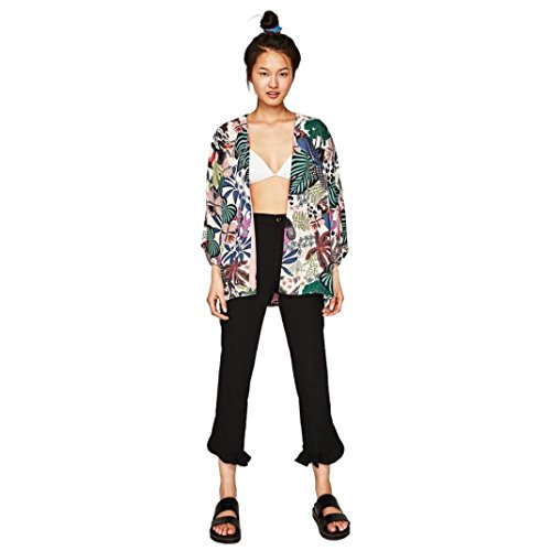 DEELIN Camisa De La Planta De La Flor De La Gasa De La SeñOra Kimono De Gran TamañO (M