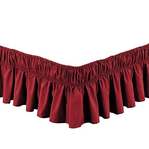 Pliegues de cama elásticos alrededor de la falda de la cama, volantes de polvo plisado Cubre Canapé Medidas canapé Faldón de volantes con banda Cubre unda de somier Colcha-Rojo vino-REINA:150*200Cm