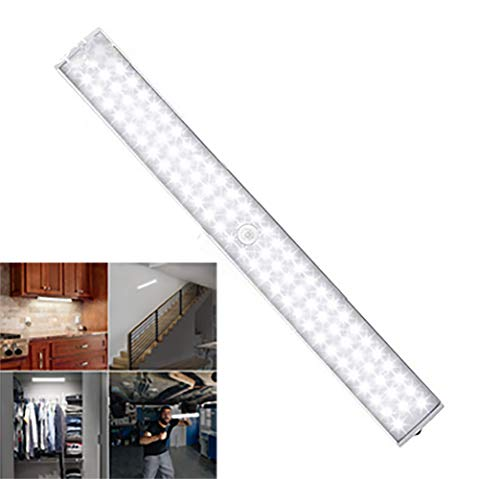Weiqiao® - Lámpara de pared con 88 LED, USB, recargable, iluminación de armario, 3 modos, detector de movimiento, luz adhesiva, banda magnética para pasillo, escalera o pared