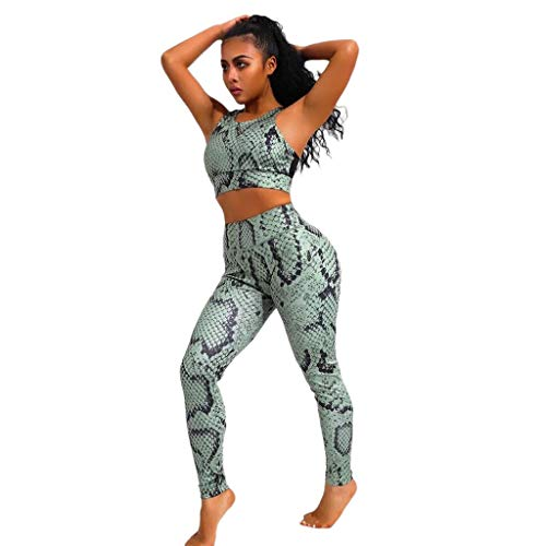 Outique High Waisted Yoga Clothes Set, Womens Green Snake Print Pattern Sexy Feet Yoga Pants Vest Two Piece