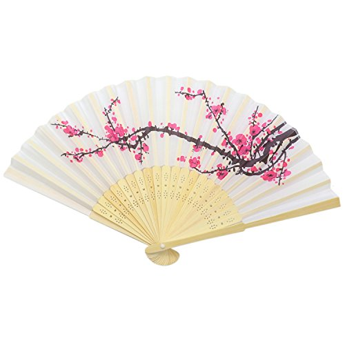 HUELE 8 Pack Chinese Style Delicate Cherry Blossom Design Silk Folding Fan Wedding Favors Home Decor