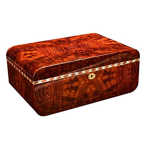 IPOUJ Zigarrenkasten, natürliches Zedernholz, Klavierfarbe, Sicherheitsschloss im europäischen Stil, Doppelzonen-Speicher-Zigarettenetui Black