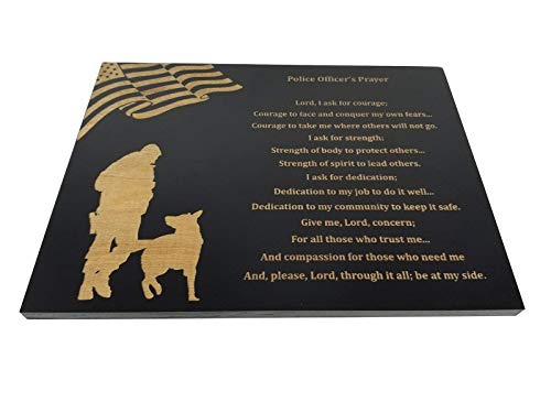 Police Officer Prayer Wall decor with American Flag and Police K9 Silhouette - 8.5 x 11.5 Inches Sign