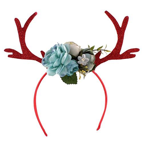 Gazechimp Erwachsene Kinder Weihnachten Blumen Geweihe Kostüm Haarreif Haarband - Blau