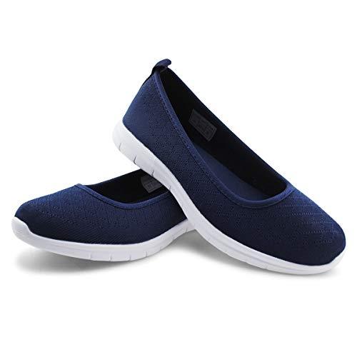 JABASIC Women Knit Loafers Lightweight Slip On Flat Shoes (8,Navy)