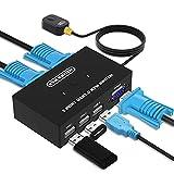 VGA KVM Switch, USB y VGA Conmutador para 2 PCs un Monitor de Video de 1 Piezas y 3 Dispositivos...