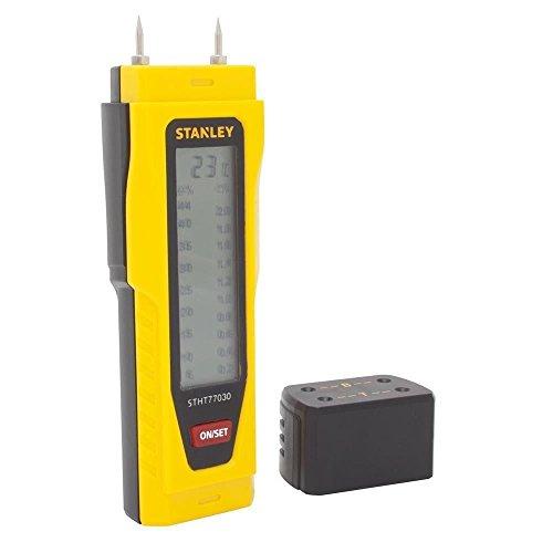 Stanley 0-77-030 Testeur / Détecteur d'Humidité, Précision 2%, Équipé de Broches en Inox Filetées, Boitier Résistant aux Chocs, Arrêt Automatique de l'Appareil
