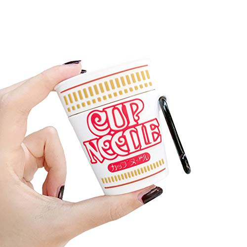 Rertnocnf Creative 3D Instant Noodles Container Design Airpods Case Cute Leisure Food Airpods Accessories Soft Silicone Protective Bluetooth Wireless Earphone Charging Case Noodles