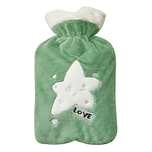 Hot water bottle LIU, with Green Removable and Washable Flannel Cover,Hand Warmer Cold and Heat Therapy Winter Essential Gift