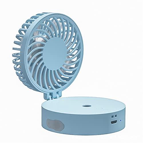 DFQX Ventilador portátil 800mAh Mini ventilador de mano con cordón: ventilador operado por batería USB Recargable Ventilador personal Funcionamiento 4H Ventilador pequeño plegable 3 velocidades con lu