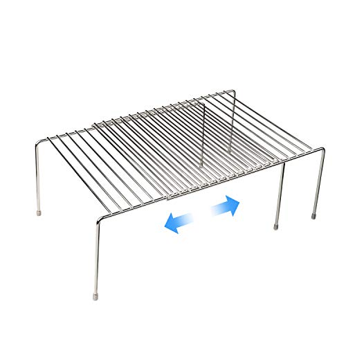 Stainless Steel Expandable Kitchen Storage Organizer Spice Rack Cabinet Organization Shelves Heavy-Duty Rustproof Shelf Adjustable Durable Rack Space Saving Countertop Drawer Cabinet Pantry