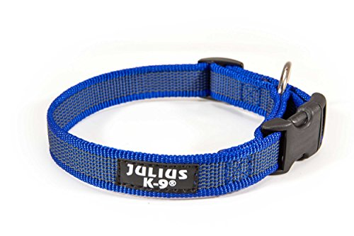 Julius-K9 Collare Color & Gray, 25 mm (39-65 cm), Blu-Grigio