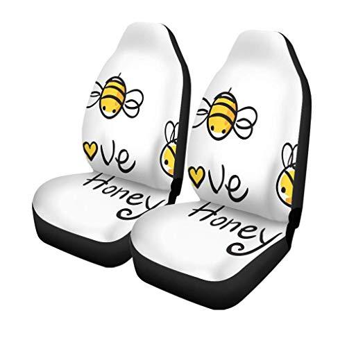 Autostoelhoezen, cartoon honing en bijen, voor baby's, bijen, insecten, dieren, 2 stuks, geschikt voor auto