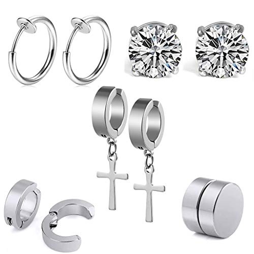 5 Paare Non-Pierced Edelstahl Ohrringe set Schwarz Ohrklemmen Magnetische Ohrstecker Ohrringe damen herren Nicht Durchdringende Kreuz CZ Magnet Ohrring Set Creolen (silber)