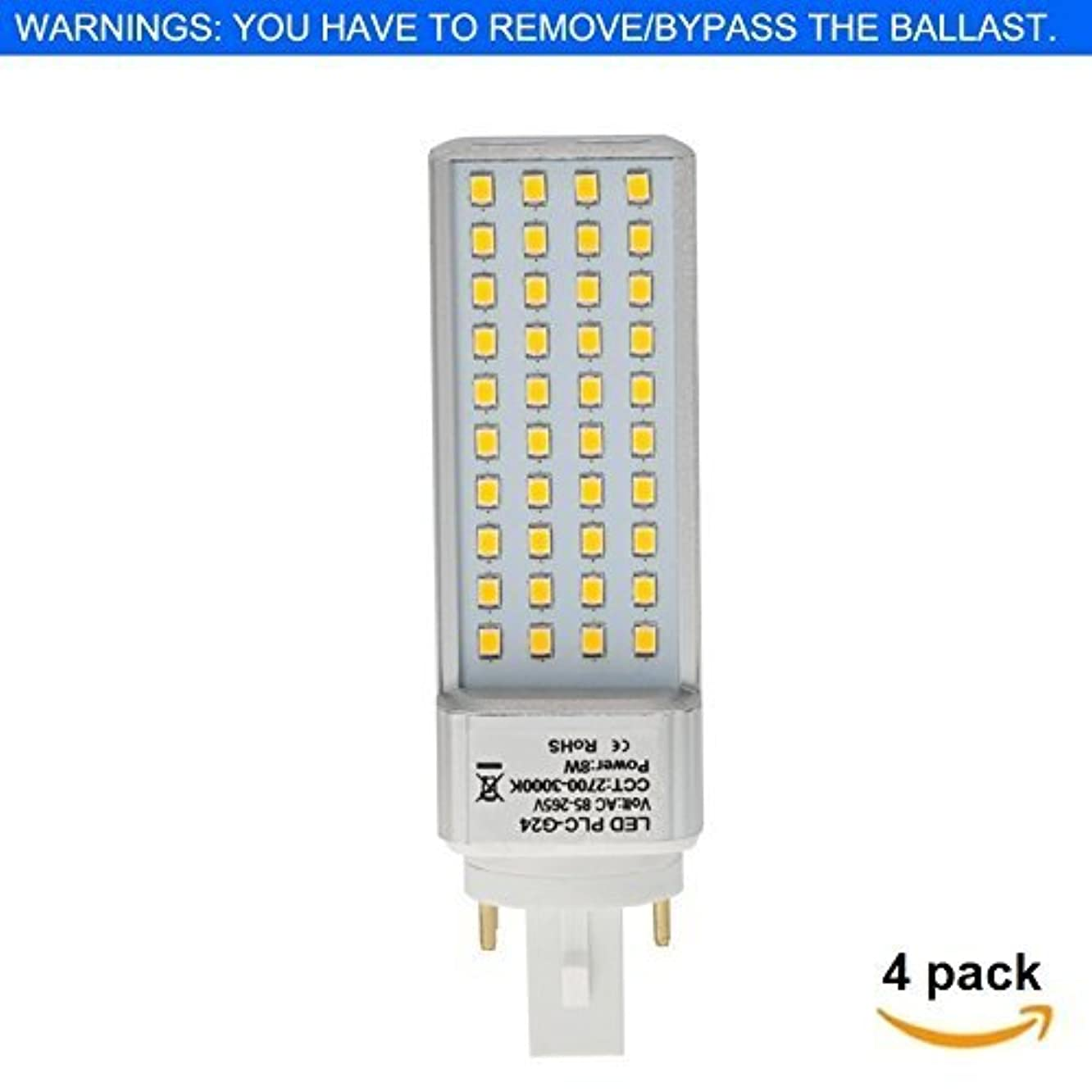 HERO-LED  G24-40S-4P-DW Rotatable PL-C Lamp G24Q 4-Pin LED CFL/Compact Fluorescent Lamp, 8W, 18W Equal, Daylight White 5000K, 4-Pack (Remove/Bypass The Ballast)