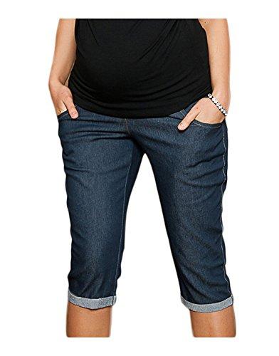 Mija - Capri Denim Pantacourt en jeans de maternité pantalons courts 9046 (EU 42, Foncé Bleu)