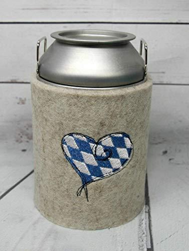 Spardose Milchkanne (elektrolytischem Weißblech) mit Herz bayrisch personalisierbar mit Schutzhülle 100% Polyester (Filz)