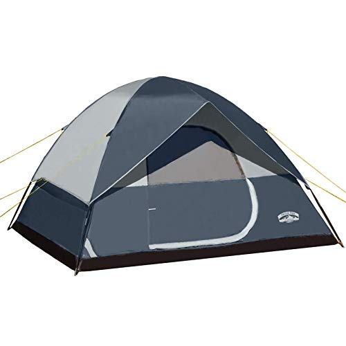 Pacific Pass 6 Person Family Dome Tent with Removable Rain Fly, Easy Setup for Camp Backpacking Hiking Outdoor, 118.1118.174.8 inches, Navy Blue