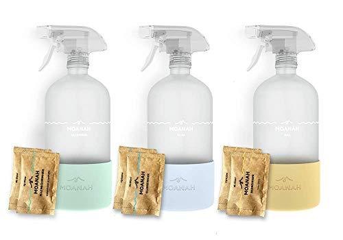 Moanah Bio Haushalts-Reiniger Starter-Set   Badreiniger + Allzweckreiniger + Glasreiniger   Putzen mit nachhaltigem Reinigungsmittel in 3 Glasflaschen (mit je 2 Nachfüll-Päckchen)