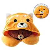 BuryTony Soft Hooded U-Shape Neck Travel Pillow with Hoodie Shiba Inu Neck Support Head Rest for Travel/Car/Sleeping, Yellow