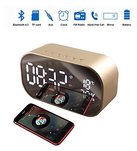 Enjoy Best Time Wireless Bluetooth Speaker Clock,Digital Mirror Radio Alarm Clock USB Charging Port AUX TF Card Play Display for Bedside Bedroom(Gold)