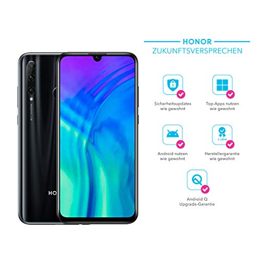 Honor 20 Lite 128 GB Smartphone BUNDLE mit 32MP AI Selfie Kamera (6,21 Zoll), AI Triple Kamera, Dual-SIM, Android 9.0) Midnight Black + gratis Flip Cover [Exklusiv bei Amazon] - Deutsche Version