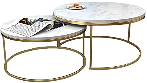 WSHFHDLC coffee table Provided nested table 2 modern vintage metal end table legs simple and elegant style table circular table simplistic small coffee tables (Size : 60cm+45cm)
