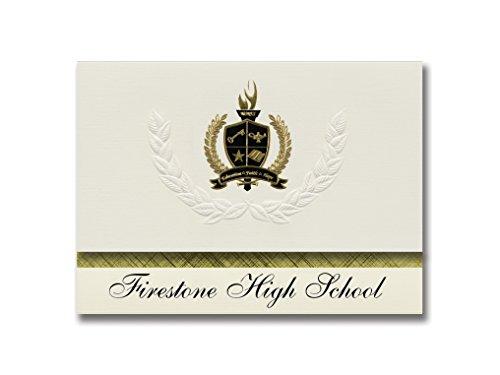 Signature Ankündigungen FIRESTONE High School (Akron, OH) Graduation Ankündigungen, Presidential Stil, Elite Paket 25Stück mit Gold & Schwarz Metallic Folie Dichtung