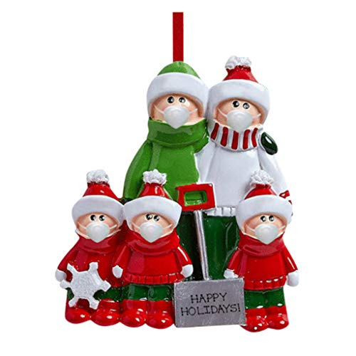 Shan-S Personalized Snow Shovel Family of 3-6 Christmas Tree Ornament 2020 - Cute Parent Child Green Winter Cloth Hold Spade Tradition Gift Year Hug Gift Kid Shoveling