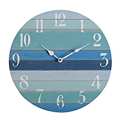 NIKKY HOME 16 Rustic Silent Noiseless Gradients Spliced Beach Blue Wood Round Wall Clock