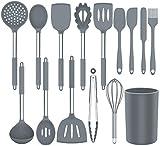 Benss Küchenhelfer Set, Küchengerät 15 Stück Kochgeschirr Set Silikon, Antihaft Hitzebeständiger Silikonspatel Set, Küchenutensilien mit Edelstahlgriff