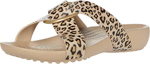 Crocs Serena Prntd CrssBnd SldW, Chanclas Tiempo Libre y Sportwear Mujer, Multicolor (Leopard/Gold), 37/38 EU