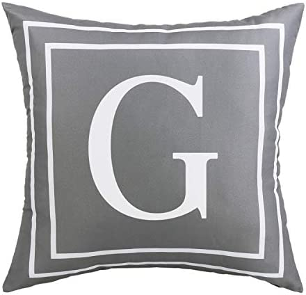 ASPMIZ Throw Pillow Covers English Alphabet G Pillow Covers Initial Pillowcases Gray Letter product image