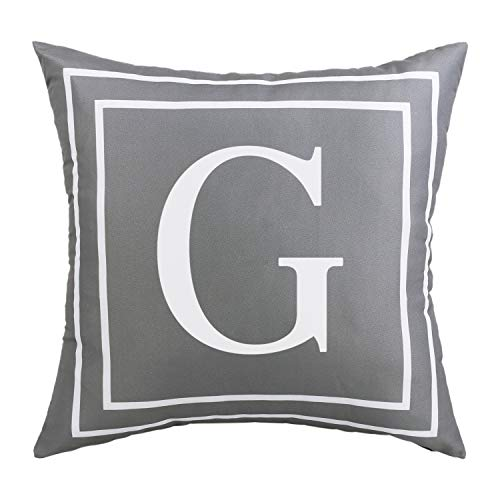 ASPMIZ Fundas de almohada con letras del alfabeto inglés G, fundas de almohada con inicial en color gris, funda de cojín decorativa para cama, dormitorio, sofá (gris, 45,7 x 45,7 cm)