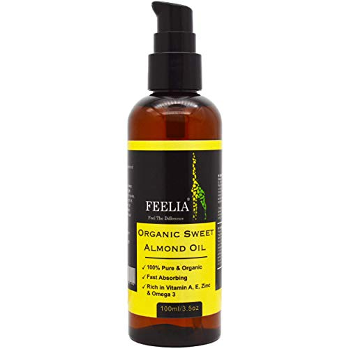 Feelia - Organic Sweet Almond Oil - Cold Pressed, Rich in Vitamins A, E, Zinc & Omega 3, Fast Absorbing, 100% Pure & Organic (100ml)