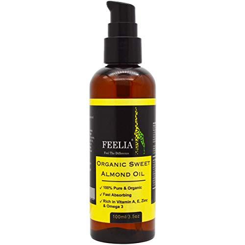 Feelia - Organic Sweet Almond Oil - Cold Pressed, Rich in Vitamins A, E, Zinc & Omega 3, Fast Absorbing, 100% Pure & Organic