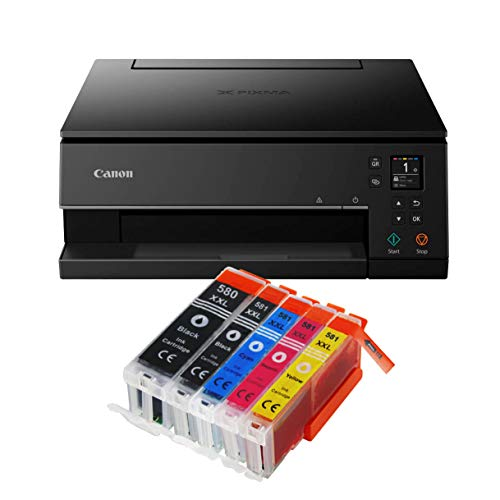Canon Pixma TS6350 TS-6350 All-in-One 3-in-1 Farbtintenstrahl-Multifunktionsgerät (Drucker, Scanner, Kopierer, USB, WLAN, Apple AirPrint) Schwarz + 5er Set IC-Office XXL Tintenpatronen