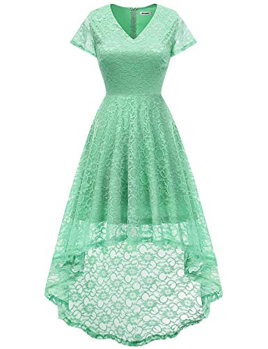 Bbonlinedress Damen Vintage Vokuhila Spitzen Kurzarm Unregelmässig Brautjungfern Abendkleider Mint M