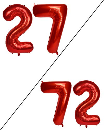 AULE 40 Inch Large 27 Balloon Numbers Red, Big Foil Number Balloons, Giant Helium Happy 27th Birthday Party Decorations for Women, Huge Mylar 72 Anniversary Party Supplies