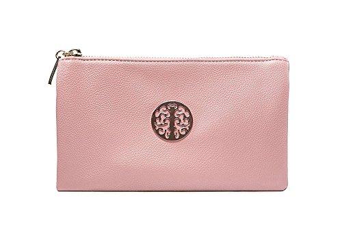 Long & Son 3141 Damen Clutch, Handtasche, Schultertasche, Umhängetasche, klein, Pastellrosa
